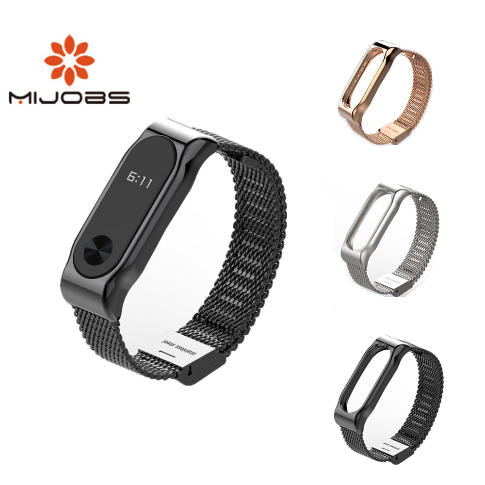 Mijobs Milanese Metal Strap For Xiaomi Mi Band 2 Smart Watch Screwless Stainless Steel Bracelet Miband 2 Strap Wristbands