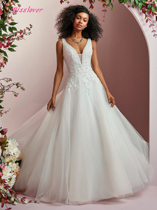 Image 3 - Свадебное платье из шелковистой органзы, роскошное кружевное свадебное платье с открытой спиной, ТРАПЕЦИЕВИДНОЕ ПЛАТЬЕ со шлейфом, 2019