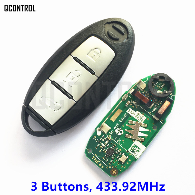 QCONTROL Smart Remote Key 3 Buttons Suit for NISSAN Qashqai X-Trail Car Controller for Continontal 433.92MHz PULSAR with Chip