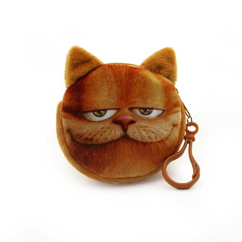 Cute Cartoon Cat Style Coin Purse Mini Cotton Simulation Animals Kids Wallet Bag Round Small Key Change Pouch Bags for Girl cute girl hasp small wallets women coin purses female coin bag lady cotton cloth pouch kids money mini bag children change purse