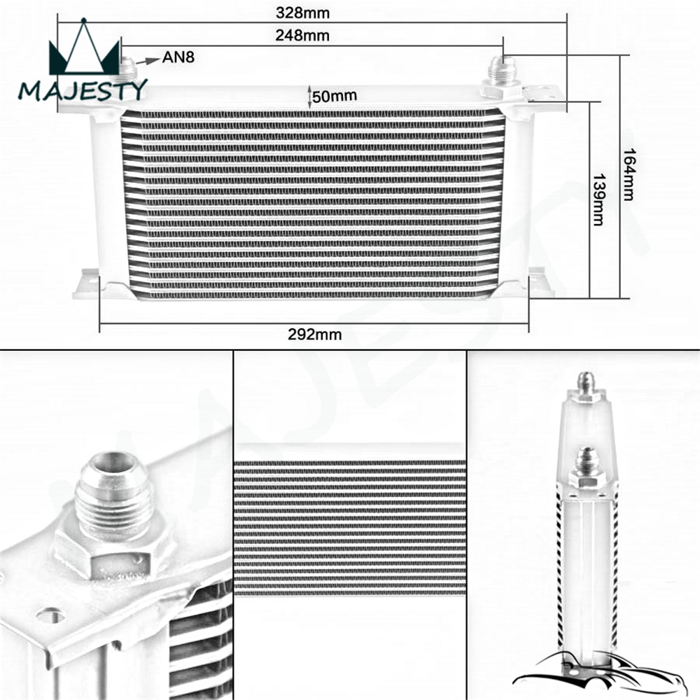19 Row Aluminum 8-AN8 Oil Cooler for Universal Car Radiating/Cooling System