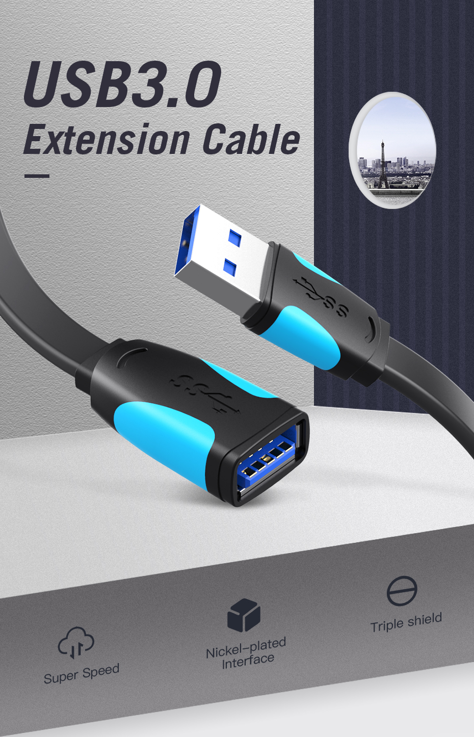 HTB1F8HIaOHrK1Rjy0Flq6AsaFXal Vention USB2.0 3.0 Extension Cable Male to Female Extender Cable USB3.0 Cable Extended for laptop PC USB Extension Cable