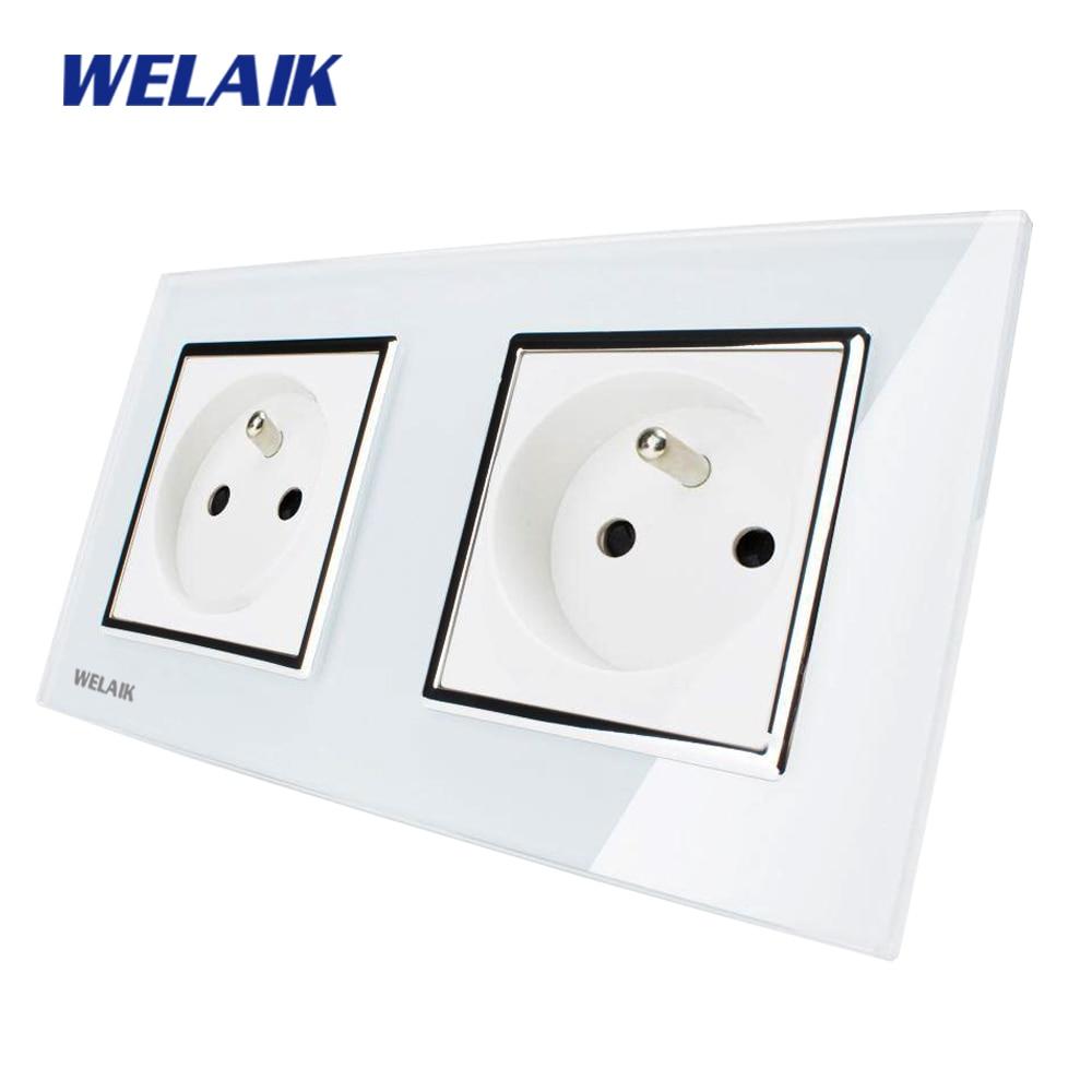 WELAIK  Glass Panel EU Wall Socket Wall Outlet White Black French Standard Power Socket AC110~250V A28F8FW/B