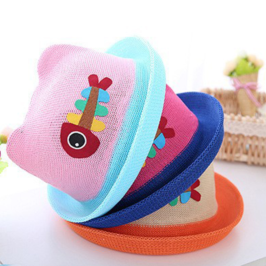 New Fashion Cartoon Colorful Fish Design Children Sun Straw Hats Kids Summer Bucket Cap Apparel Accessories Girl's Hats