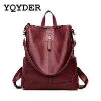Fashion Multifunction Women Backpack High Quality PU Leather School Bags For Teenager Girl Casual Shoulder Bag