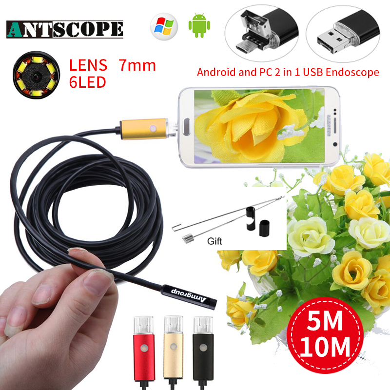 Antscope endoscope camera 10M 7mm/5.5mm/8mm Android and USB 6LED Borescope Inspection Camera for PC Inspection Endoscopic 30