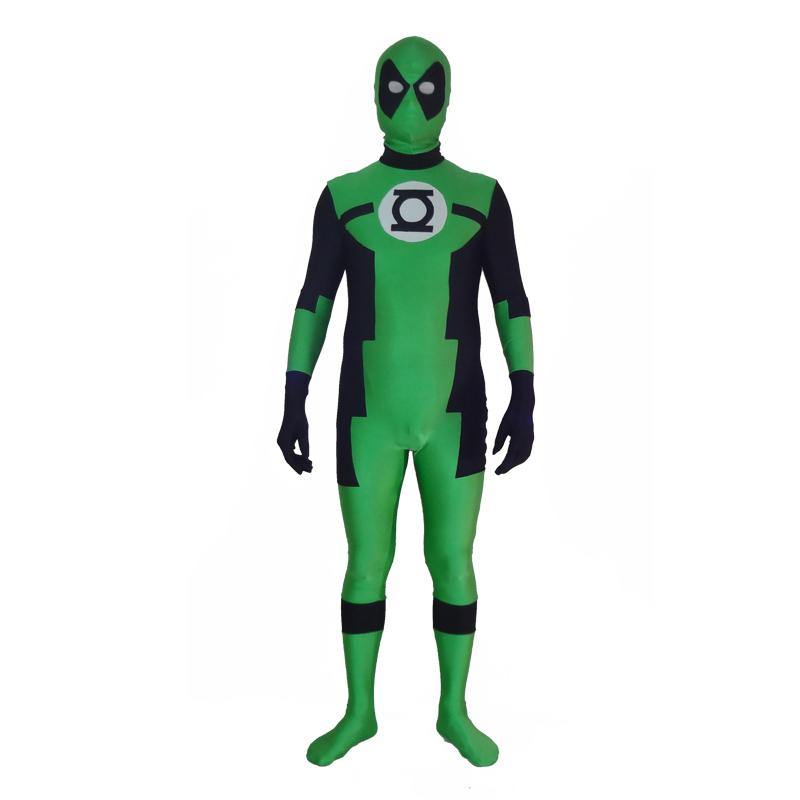Custom Made Green Lantern Deadpool Cosplay Costume Lycra Spandex Zentai Bodysuit for Halloween Party