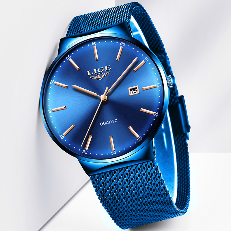 LIGE Men's Watches New Luxury Watch Men Fashion Sports Quartz Watch Stainless Steel Mesh Strap Ultra Thin Dial Date Blue Clock