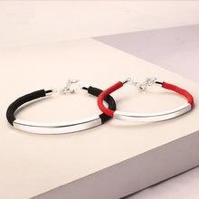 44481e3ffffd Plata de Ley 925 pulseras de pareja de hombres y mujeres estudiante negro cuerda  roja coreano minimalista regalo de novia pulser.