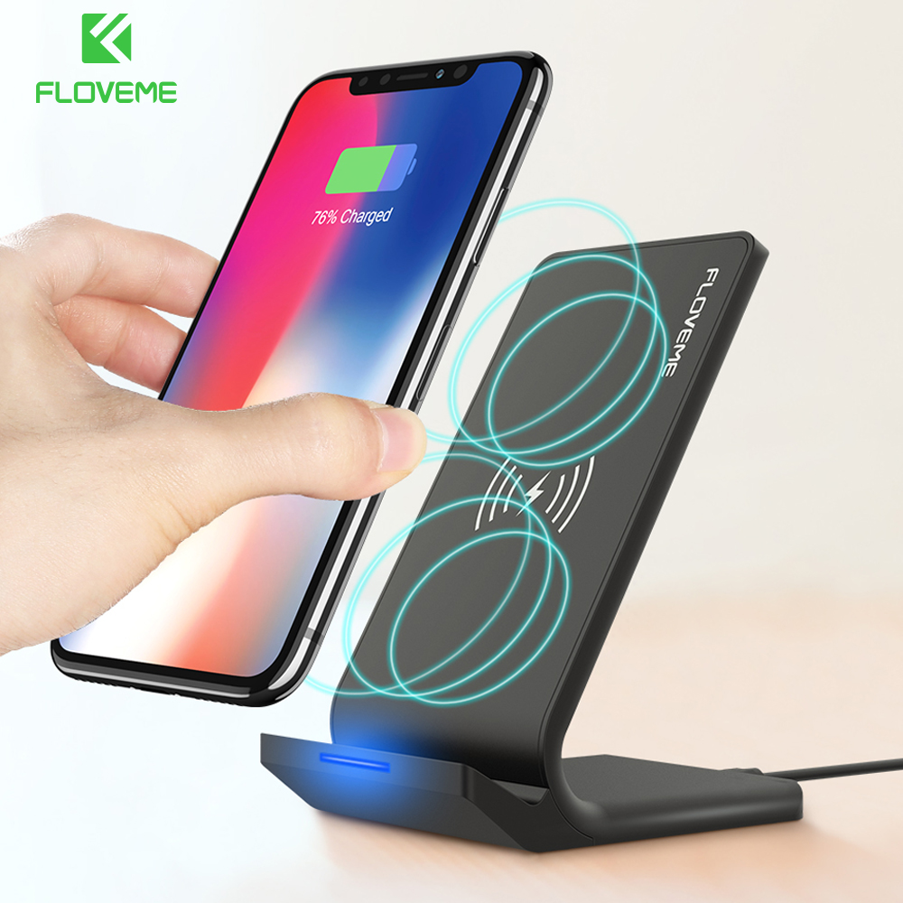 FLOVEME Dual Coil Qi Wireless Charger 10W For iPhone X 8 8 Plus USB Fast Charger For Samsung S8 S9 S7 S6 Note 8 Dock Station