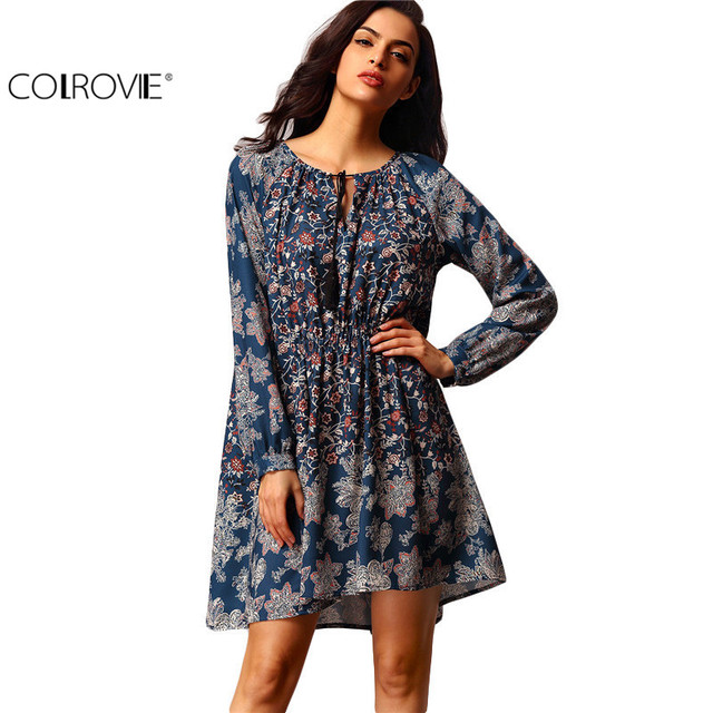 COLROVIE Ladies Fashion Dresses Casual Women Clothing Navy Long Sleeve V neck Vintage Print Short Shift Dress