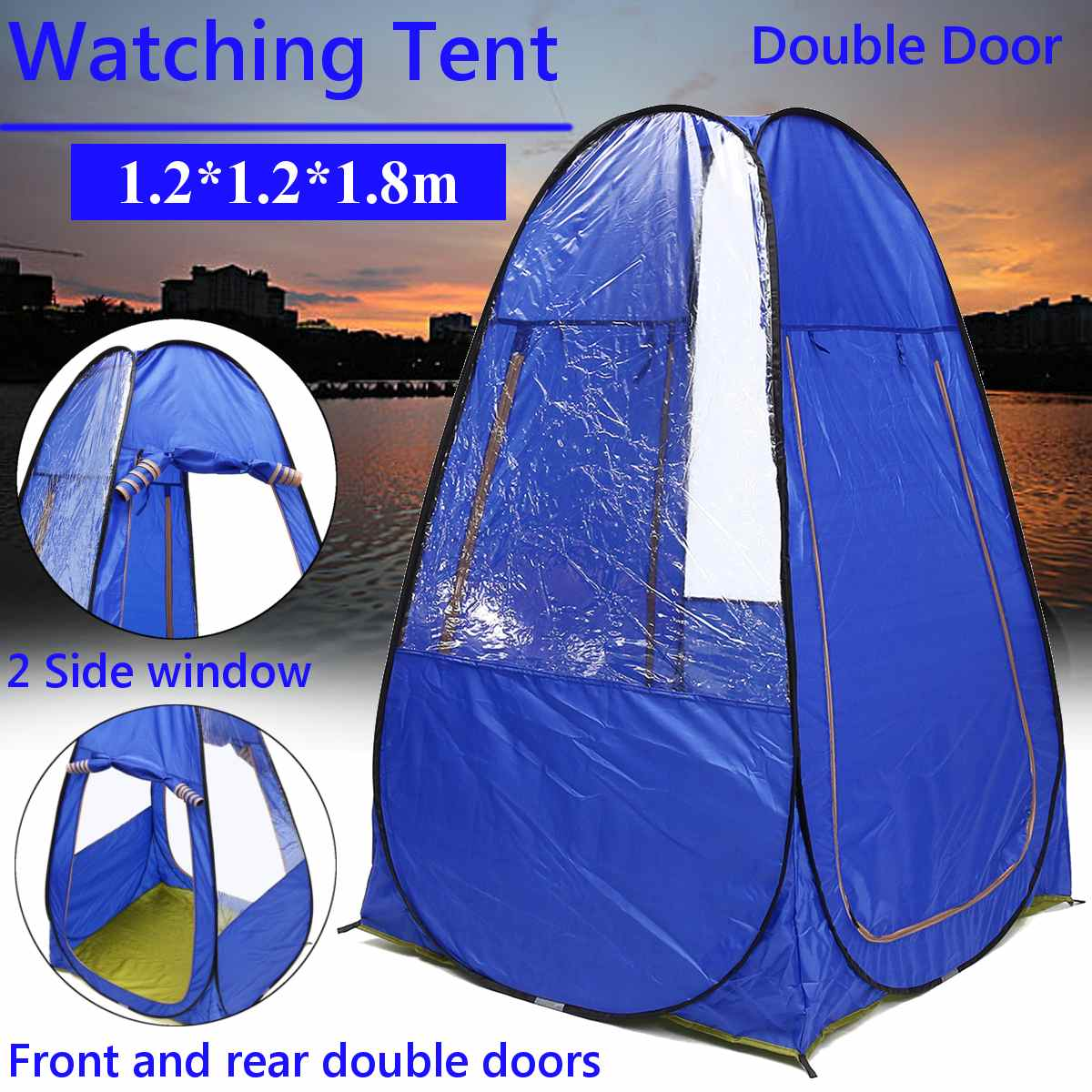 Blue Changing Fitting Room Camping Tent Outdoor Portable Privacy Toilet Tent Shower Shelter Beach Fishing Tent
