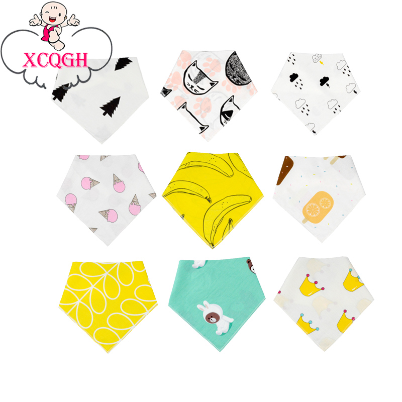 XCQGH Baby Bib Triangle Saliva Towel Scarf Cute Pattern Cotton Newborn Bib Apron for Infant Feeding ...