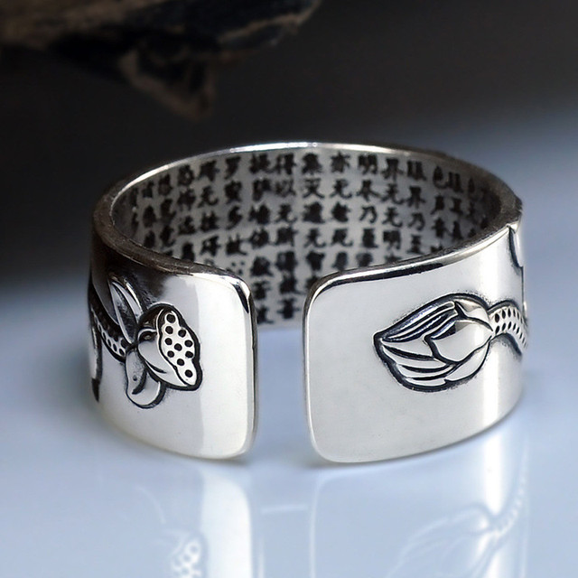 V.YA 100% Real 999 Pure Silver Jewelry Lotus Flower Open Ring 3