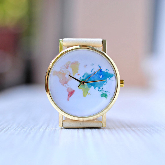 AVOCADO Graduation gift. World Map watch. Wanderlust. Gift for women. Watch for woman. Travel gift. Woman gift. Globe watches diy scratch globe 3d stereo assembly globe world map travel kid child toy gift