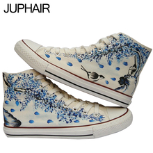 JUP 14 Styles China Art Flower Birds Despicable Me Minion Spongebob Hand Painted Canvas Hi-Top Shoes for Men Mans Boys Girl Kid