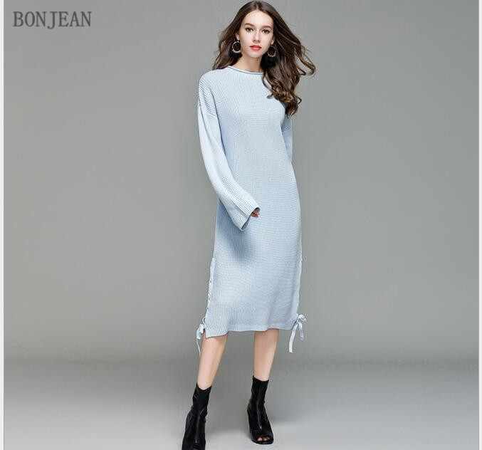 Free Shipping Woman Europe United States Fashion 2018 Autumn And Winter Leisure Temperament, New Soft Loose Knitted Dress free shipping europe and the united states set foot business mens casual shoes