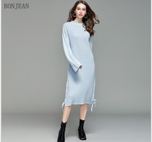 Free Shipping Woman Europe United States Fashion 2018 Autumn And Winter Leisure Temperament, New Soft Loose Knitted Dress