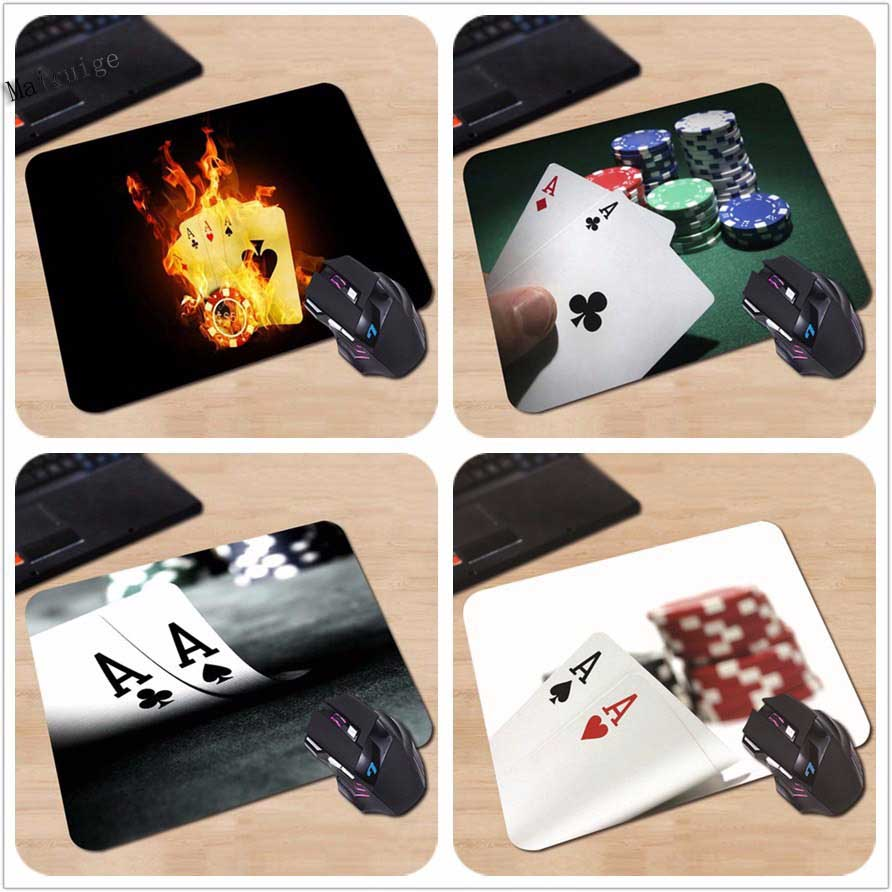 Mairuig Custom Rectangle Personalized Gaming Custom Mouse Pad Poker Cards Black Notebook Computer 250x290x2mm Fire