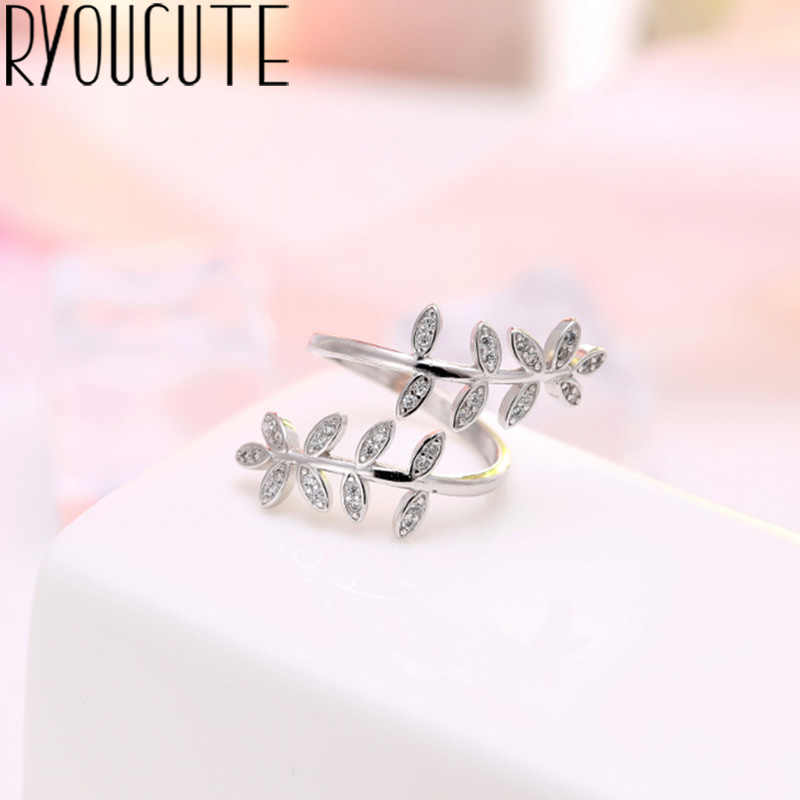 Bohemian Luxury 925 Sterling Silver Leaf Rings for Women Bijoux Gift Female Adjustable Size Finger Rings Anillos Wholesale