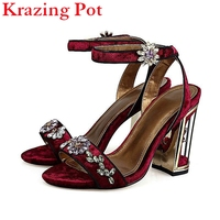 2017 New Fashion Chinese Style Brand Shoes Flower Buckle Beading Crystal Women Sandals Ankle Strap Solid
