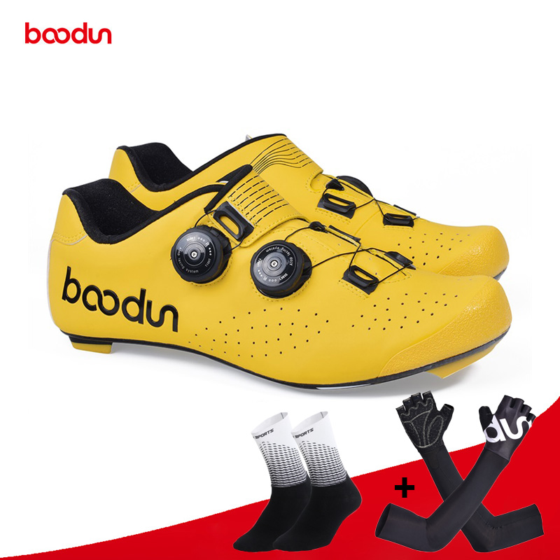 Boodun New Road Cycling Shoes Carbon Fiber Self Locking Ultralight Breathable Shoes Professional Bicycle Racing Athletic