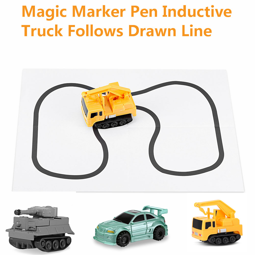 Magic Pen Inductive Car Truck Drawn Line Track Engineering Mini Toy for Kids