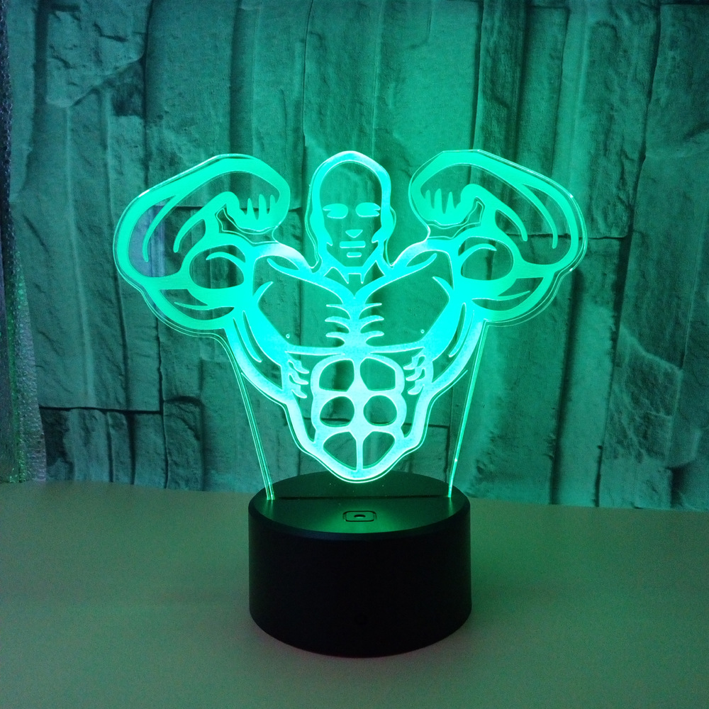 Action Figure New Fitness Male 3D Lamp Vision Stereo Light Touch Remote Muscle Modern Desk Lamp Motorcycle Matador Night Lights