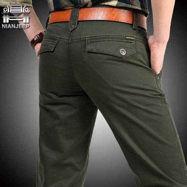 NIANJEEP Бренда Большой Размер 30 40 42 Хлопок Брюки Случайные Мужская Одежда Военная Army Green Мужские Бегунов A3068