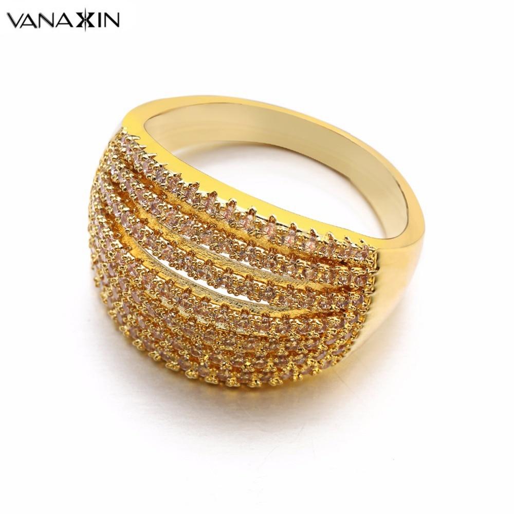 220fda847c5c VANAXIN anillos 7 círculos CZ claro para las mujeres de compromiso joyería  de moda anillos de oro rosa Color blanco caja