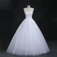 9036 2016 Lace White Ivory Prom Gown Lace Up Back Wedding Dresses For Bride Gown Appliques
