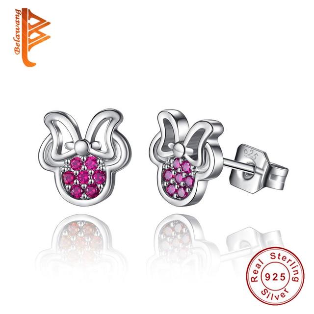 100% 925 Sterling Silver Earring Cute Dazzling Mickey Stud Earrings Red Cubic Zirconia Minnie Earrings For Women Girls Children