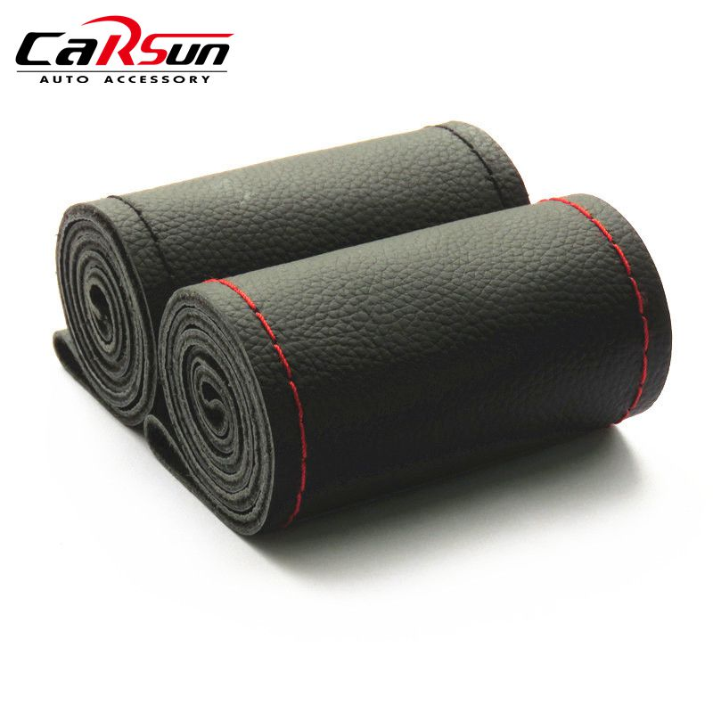 New Universal DIY Steering Wheel Covers Extremely Soft Leather Braid on the Steering-Wheel of Car With Needle and Thread