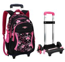子供の旅行ローリング荷物袋の学校のトロリーバックパック女の子車輪の上女の子のトロリー学校のバックパック子供