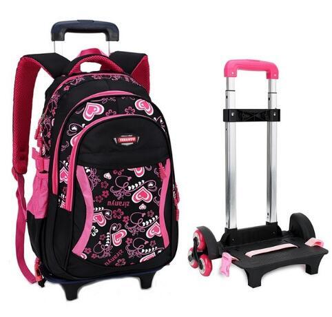 Sac à bagages roulant de voyage pour enfant sac à dos de chariot d'école sac à dos de filles sur roues chariot de fille sacs à dos à roulettes d'école enfant