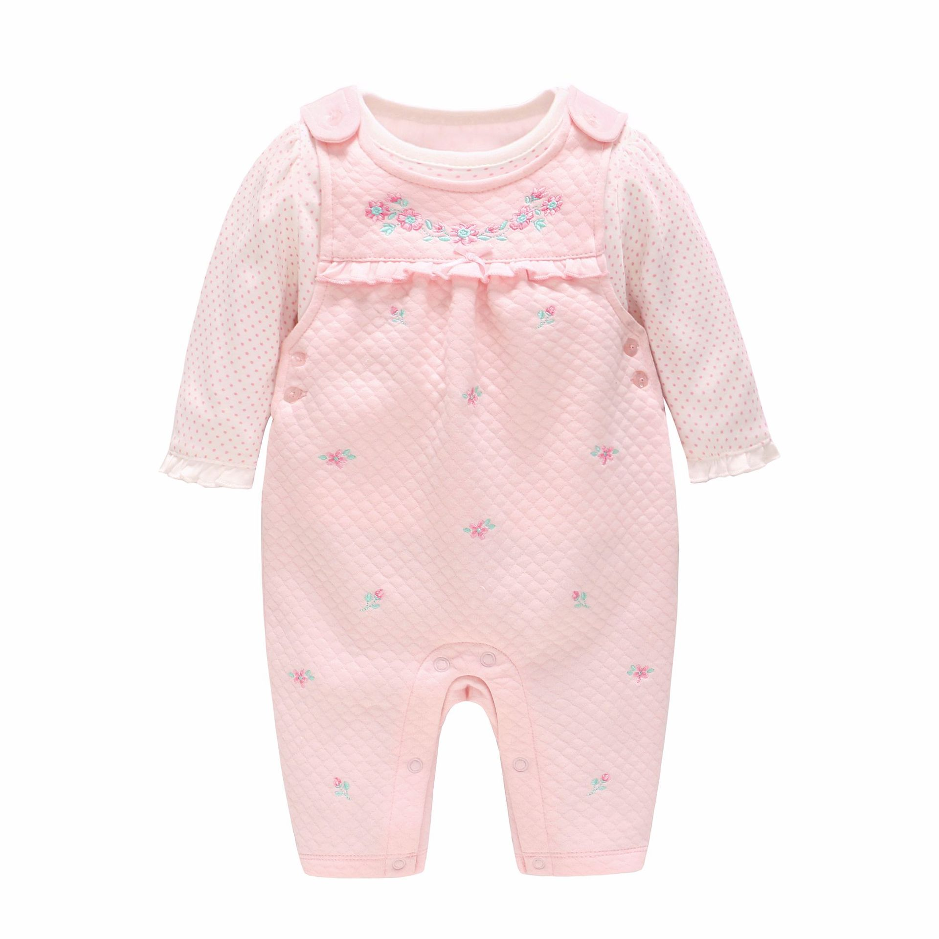 2019 New Born Baby Girl Clothes Pure Cotton Spring and Autumn New Baby Jumpsuit Pink Embroidery Strap Pants Children's Set