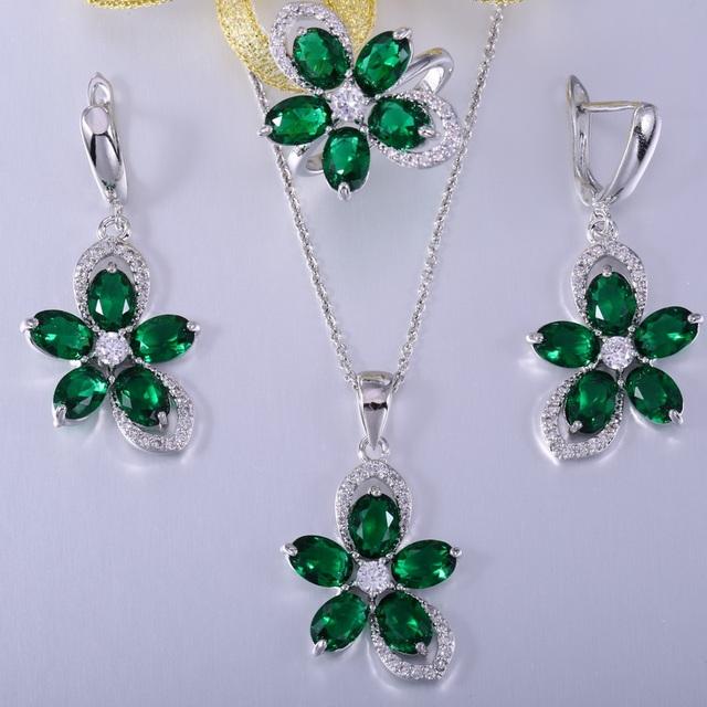 Zhe fan vidro verde pave branco aaa zirconia flor moda mulheres jóias definir o Dia Dos Namorados 3 Pcs Marca de Jóias Tamanho 6 7 8 9