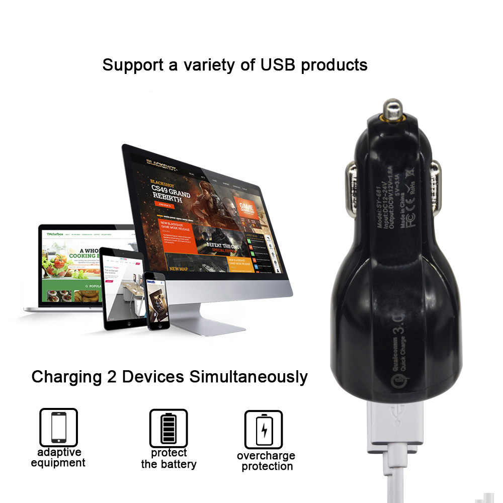 Mobil USB Charger Pengisian Cepat 3.0 2.0 Mobile Phone Charger 2 Port USB Cepat Charger Mobil untuk Iphone Samsung Xiaomi