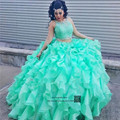 Princesa Turquesa 2 Peça Rendas Doce Bola 15 Vestidos Quinceanera Vestidos Vestido de Debutante Vestido de Vestidos de Marmelo Anos 2017