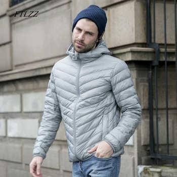 FTLZZ New White Duck Down Jacket Men Autumn Winter Warm Coat Men\'s Ultralight Duck Down Jacket Male Windproof Parka
