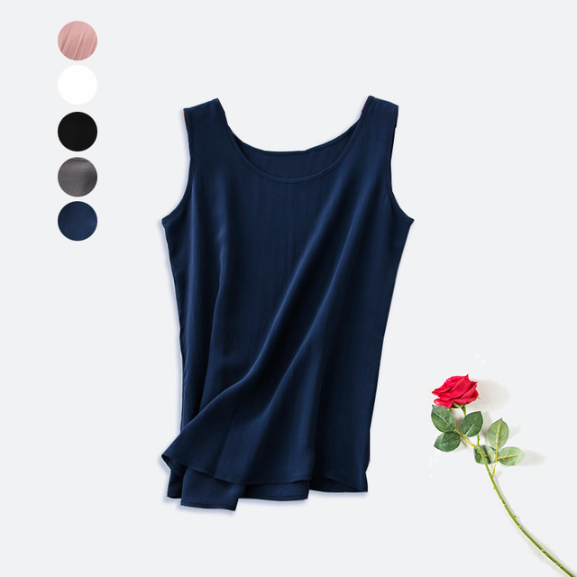 Women silk tank top 100% Natural silk  shirt Sleeveless Chiffon Top Solid basic tank tops 2016 Summer new