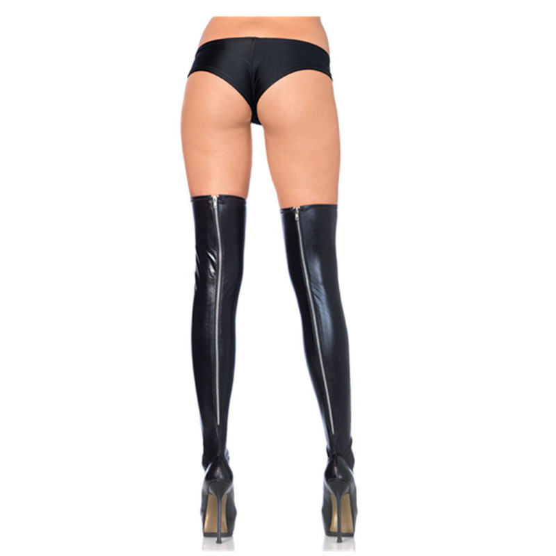 Lady Wet Look Zipper Leg Wear Stockings Latex Leggings Sexy Stockings High Stockings Black Women Underwear Leggings Over Knee