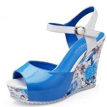High Quality ! Summer print wedges high heel sandals female shoes women platform comfortable national trend shoes sandalias