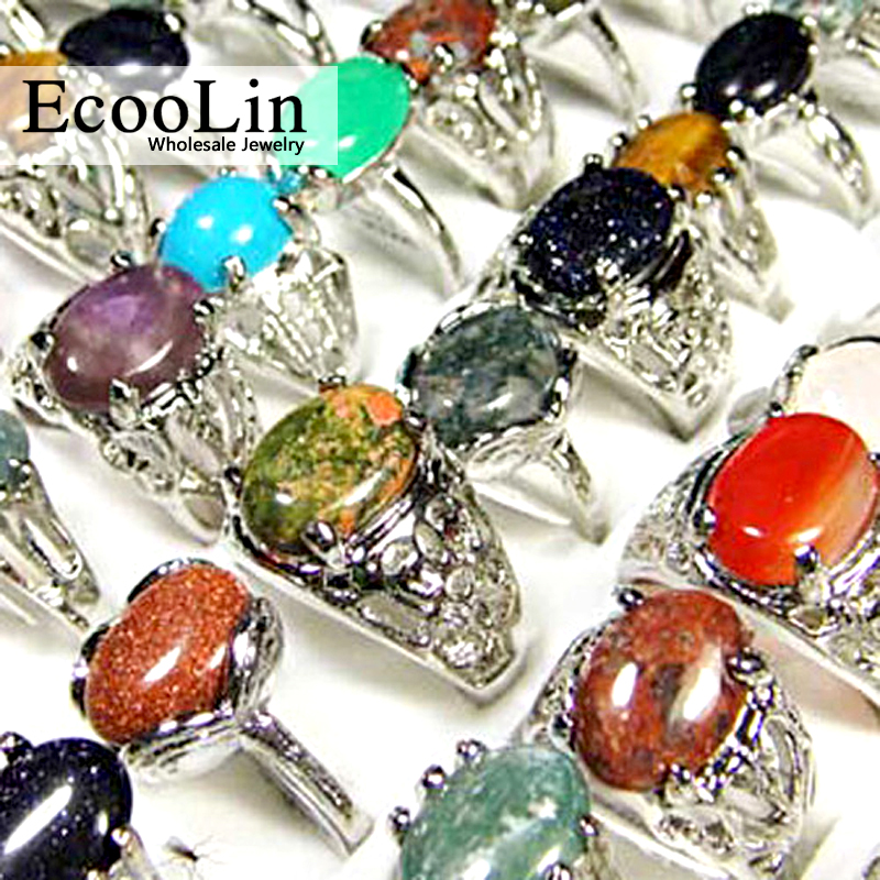 150Pcs Lot EcooLin Brand Jewelry Fashion Natural Stone Silver Plated Rings for Women Whole Bulk Jewelry