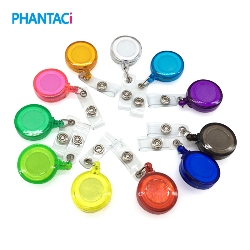 20 Pcs/lot Retractable Ski Pass ID Card Badge Holder Reel Pull Key Name Tag Card Holder Recoil Reel For School Office Company