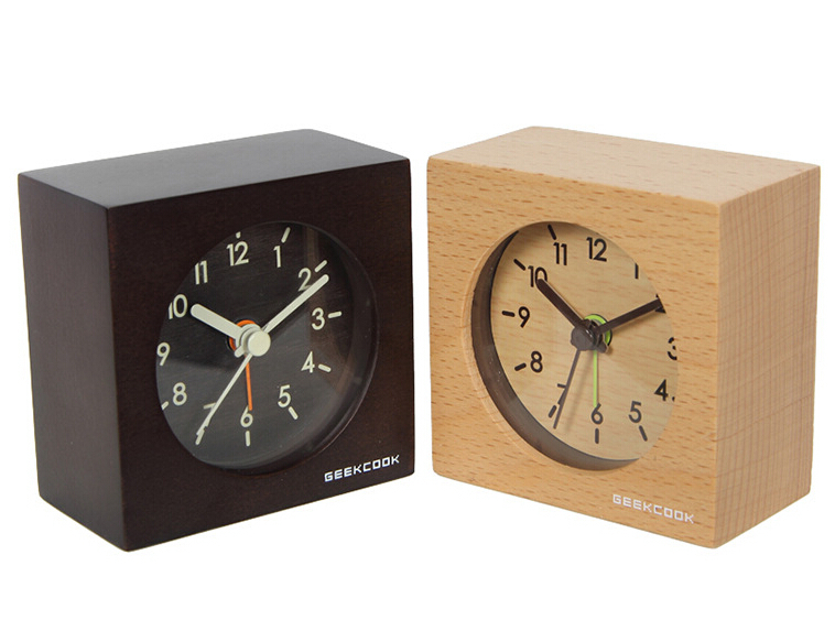 solid wood clocks mute intelligent small squares alarm clock put