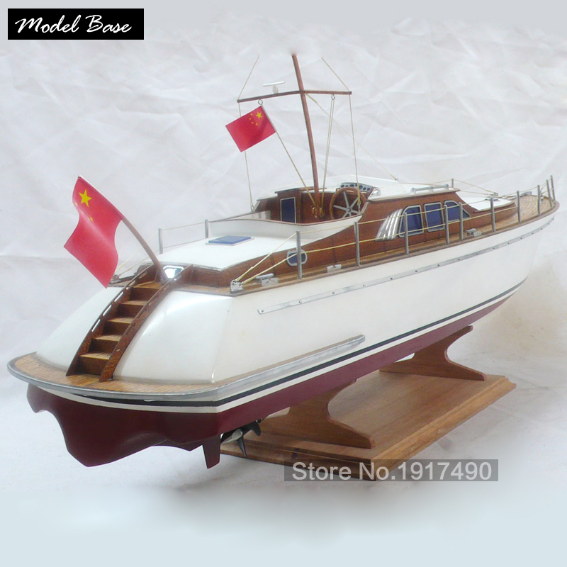 Model ornamental wooden canoe 39cm long