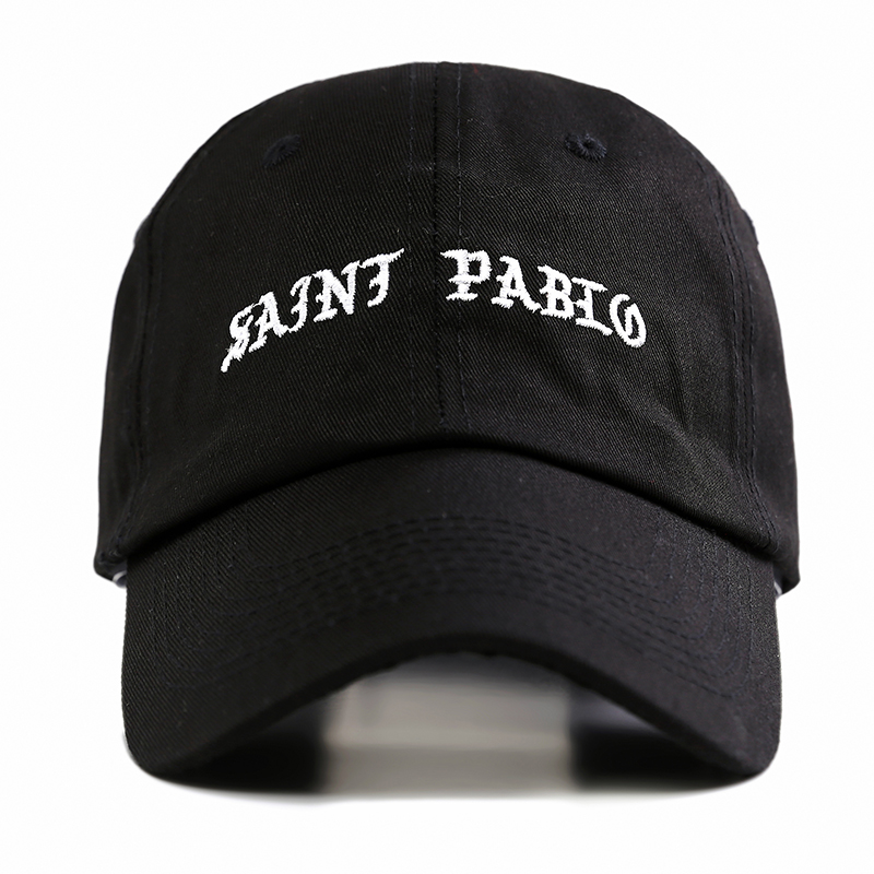 Kanye West Brand Saint Pablo Men Baseball Cap Street Tide New Dad Hats Women Snapback bone casquette Black 100% Cotton Hats 2016 new new embroidered hold onto your friends casquette polos baseball cap strapback black white pink for men women cap