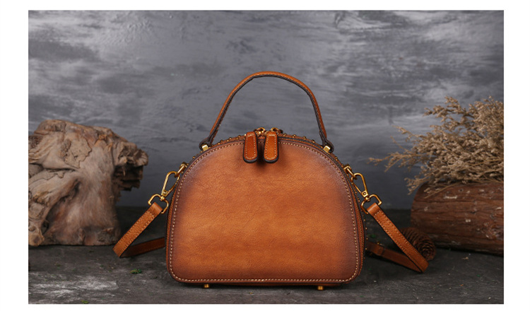 18 Luxury Women Genuine Leather Handbags Ladies Retro Elegant Shoulder Messenger Bag Cow Leather Handmade Womans Bags 9