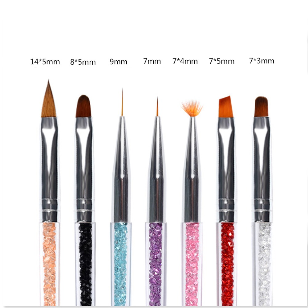 1 Set 7 Styles  Flower Painting Coating Shaping Flat Fan Angle Brush Acrylic and Drawing Pen 5